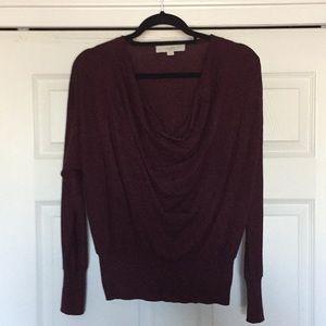 Loft Medium Burgundy Draped Neck Sweater